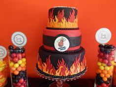 Miami Heat Party cake by Shamene Moyeda Miami Heat Basketball, Basketball Party, Basketball Birthday, Sports Party, Miami Heat Party, Miami Heat Cake, Birthday Ideas, 30 Birthday, Birthday Parties