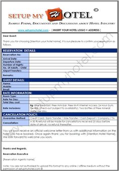 Hotel Booking Confirmation Letter Sample