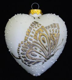 Gold Butterfly Christmas Ornament