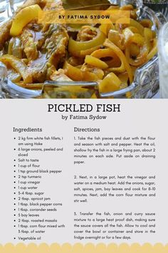Fish Recipes, Real Food Recipes, Cooking Recipes, Yummy Food, Yummy Recipes, Recipies, South African Pickled Fish Recipe, South African Recipes, Buffalo Chicken Pasta