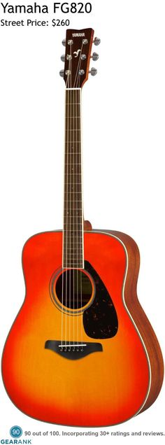 Yamaha FG820 6 String Acoustic Guitar. Features: Solid Sitka Spruce Top - Mahogany Back & Sides - Rosewood Fingerboard - Rosewood Bridge - Diecast Tuners. For a detailed guide to acoustic guitars see https://www.gearank.com/guides/acoustic-guitars