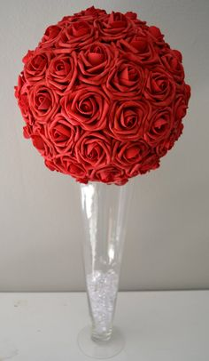 Elegant 12 Wedding RED  foam flower ball/Choose by KimeeKouture