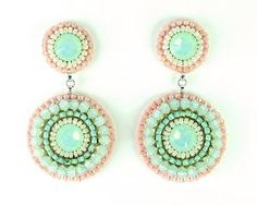 Mint peach earrings mint coral pink by exquisiteartistry on Etsy