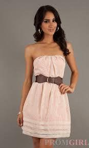 strapless light pink dress with brown belt