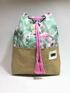 Two-way canvas/burlap bag Flamingo pattern