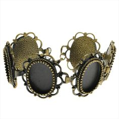ANTIQUED BRASS BRACELET WITH OVAL 135X185MM BEZELS 7 TO 9 14 INCH from beadaholique.com