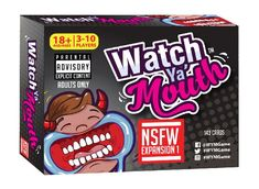 Watch Ya' Mouth Adult Phrase Card Game Expansion Pack Adult not safe work (NSFW) phrase expansion pack 1 for watch ya' mouth Contains 143 thick, high quality, high humor cards Expansion pack only - does not include cheek retractors/mouth guards Watch Ya Mouth Phrases, Watch Ya Mouth Game, Speak Out Phrases, Just In Case, Just For You, Horrible People, Mouth Guard, Adult Games, Christmas Toys