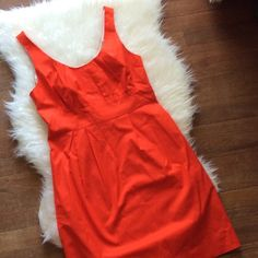 "J. Crew Suiting Dress Bright orange red J.Crew Factory suiting dress new with tags. Small faint stain on waistband. Size 8. 36"" bust, 31"" waist, 44"" hips. Total length is 37"" long. No trades, offers welcome. J. Crew Dresses Midi"
