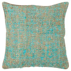 Handcrafted cotton-silk pillow in turquoise with a duck feather fill. Product: PillowConstruction Material: Cot...