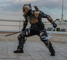 Deathstroke Cosplay Spartan rage by SPARTANalexandra on DeviantArt Deathstroke Costume, Dc Deathstroke, Deathstroke The Terminator, Deadshot, Dc Cosplay, Cosplay Armor, Pokemon Cosplay, Comic Villains, Comic Book Characters
