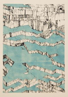 Struan Teague, Carrara quarry, Italy. 2 colour lithograph print.This abstract axonometric drawing of a marble quarry revels the geometry this man made landscape. Because axonometric projection is used instead of perspective, we can easily read the architecture of the landscape depicted in the drawing.