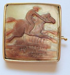 Rare Equestrian Carved Mother of Pearl Brooch