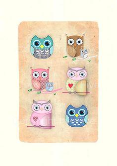 Owls nursery art print