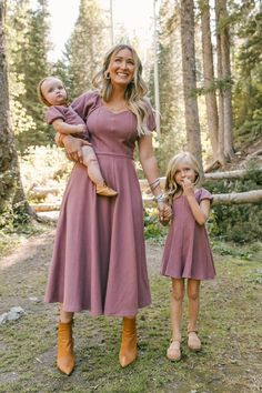 Stella Dress, purple dress, ribbed dress, tea-length, knit dress, a-line skirt, pouf sleeve, sweetheart neckline, mommy and me, matching outfits Modest Dresses For Women, Modest Outfits, Nice Dresses, Mommy And Me Dresses, Dresses With Sleeves, Lover Dress, Fall Bridesmaid Dresses, Date Night Dresses, Mauve Dress