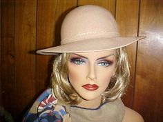 Beige wool Bollman fedora hat with matching thin band by designer2, $24.00