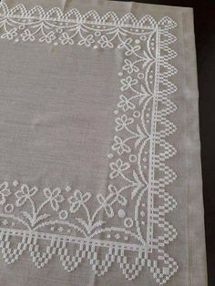 Embroidery Needles, White Embroidery, Cross Stitch Embroidery, Embroidery Patterns, Cross Stitch Borders, Cross Stitch Designs, Cross Stitching, Cross Stitch Patterns, Crochet Tablecloth