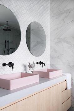 salle de bain lavabos roses inspiration deco