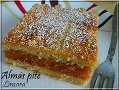Almas pite (Apple Square) from Hungary Hungarian Cuisine, Hungarian Recipes, Hungarian Cake, Hungarian Food, Bread Recipes, Cooking Recipes, Sweet Cookies, Cake Bars, I Foods