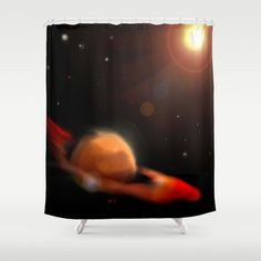 Space & Planet Shower Curtain by Stefano Rimoldi - $68.00 Space Planets, Curtains, Shower, Prints, Rain Shower Heads, Blinds, Showers, Printed, Draping
