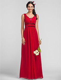 vestido de tirantes de vaina / columna piso-longitud dama de... – USD $ 89.69