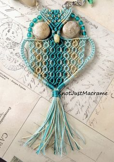Micro macrame owl by Sherri Stokey of Knot Just Macrame
