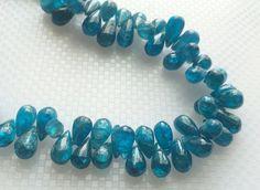 Neon Blue Apatite Plain Tear Drop Beads Apatite by gemsforjewels