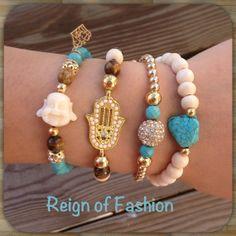 Lucky Buddha hamsa hand of god tigers eye white wood and turquoise beaded bracelet