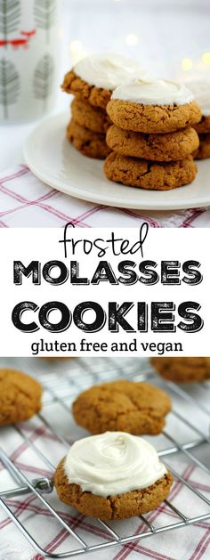 Vegan and gluten free soft and chewy molasses cookies are topped with ...