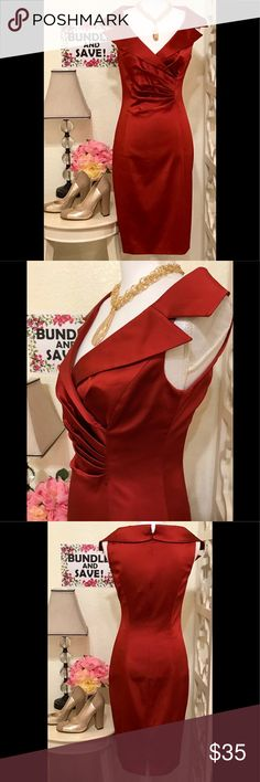 💖HOST PICK💖 KAY UNGER🌹 VERMILLION CHINA RED😍❤️ABSOLUTELY GORGEOUS🌟WORN ONCE. EXCELLENT CONDITION🌟Wide spread, high back collar. Pleated front bodice. Hidden back zipper, fully lined🌺 Kay Unger Dresses