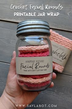 Crochet Facial Rounds Printable Jar Wrap for packaging your handmade gifts. Find this and other fabulous printables in my Etsy Shop. Crochet Faces, Crochet Gifts, Crochet Home, Knit Crochet, Yarn Projects, Crochet Projects, Crochet Scrubbies, Crochet Kitchen, Learn To Crochet