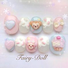 Kawaii Nail Art, Cute Nail Art, 3d Nail Art, 3d Nails, Cute Nails, Nail Arts, Pretty Nails, Nails Only, Cute Nail Designs