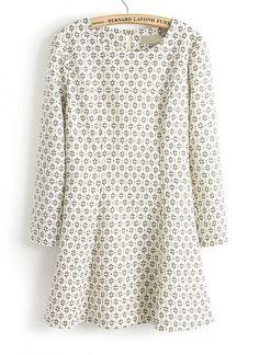 Beige Long Sleeve Geometric Print Straight Dress