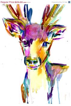 "Sweetheart Sale Print of Original Watercolor Painting, Titled: ""Bright Eyed Deer"" by Jessica Buhman Deer 8 x 10 Pink Yellow Blue Brown Black"