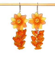 Acrylic Flower Dangle Earrings, Orange & Yellow Bouquet, Spring and Summer Colors, Swarovski Crystal Beads, Floral Jewelry, Boho Chic