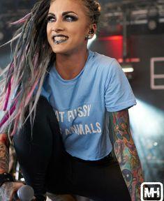 Sexy Tattoos For Girls, Girl Tattoos, Tattoo Girls, Hot Goth Girls, Cute Girls, Bad Girls, Women Of Rock, Metal Girl, Dreads
