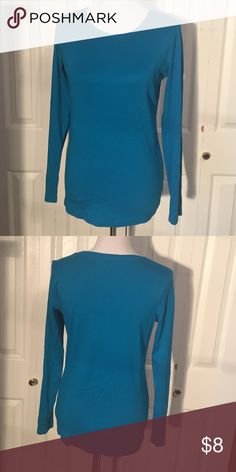 Turquoise LS tee 100% cotton AO jcpenney Tops Tees - Long Sleeve