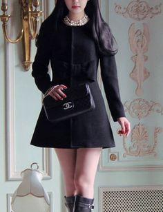 Wool Black Long Sleeve Jacket & Coat #ShopSimple