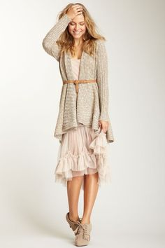 Free People Intimately Free Mesh Half Slip with open cardigan and belt. adore from head to toe.