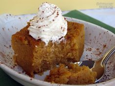 Crock Pot Pumpkin Pie pudding - Gluten and Sugar Free (if not gluten sensitive use whole grain fine milled flour w/cornstarch & quinoa flour mixed in - click the link to see how to make your own Gluten free flour mix) paleo crockpot low carb Low Carb Sweets, Low Carb Desserts, Just Desserts, Delicious Desserts, Yummy Food, Protein Desserts, Paleo Food, Protein Recipes, Healthy Desserts