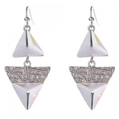Pair of Noble Faux Crystal Triangle Earrings For Women ($3.29) ❤ liked on Polyvore featuring jewelry and earrings