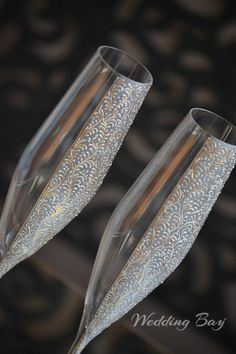 Champagne Flutes, Gold Wedding Glass, Handmade Glass, Wedding Flutes Set, Anniversary Glasses, Mr and Mrs Wedding Glasses, Matching Glasses by WeddingBay on Etsy