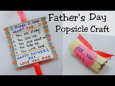 Best Gift Idea for Father& Day/Father& Day Popsicle Craft/Father& - Diy Father's Day Gifts Easy, Diy Father's Day Crafts, Father's Day Diy, Diy Gifts, Handmade Gifts, Kids Fathers Day Crafts, Fathers Day Cards, Fathers Love, Happy Fathers Day