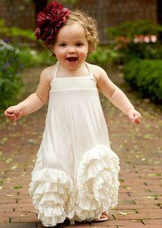 Ivory Flower Girl Dress with Ruffles, Cute Flower Girl Dresses, Flower Girl Dresses Country