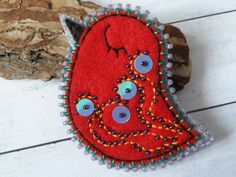 Red felt brooch, bird brooch, OOAK Unique Gift for Her handmade gifts Beautiful brooch funny brooch bird jewelry by LolaFUN on Etsy