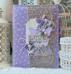Notebook with fabric cover Handmade Notebook, Handmade Books, Scrapbooking, Scrapbook Albums, Notebook Covers, Journal Covers, Shabby, Mini Albums, Round Robin