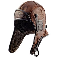 Genuine leather pilot aviator or motorcycle cap. Made of hide leather. on Etsy, $39.00