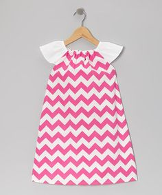Take a look at this Pink Zigzag Angel-Sleeve Dress - Infant, Toddler & Girls by Barefoot Childrens Clothing on #zulily today!