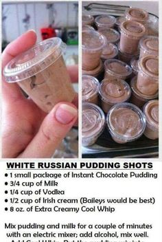 White Russian Pudding Shots: chocolate pudding, vodka, kahlua or Irish cream. Snacks Für Party, Party Drinks, Cocktail Drinks, Fun Drinks, Yummy Drinks, Liquor Drinks, Yummy Shots, Bachelorette Party Desserts, Rumchata Drinks