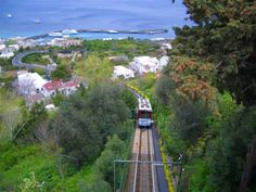 take the funicular from the ferry landing - up Isle Of Capri Italy, My Childhood Memories, Amalfi Coast, Italy Travel, Naples, Places To Travel, Trains, Landing, Places Ive Been