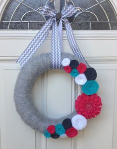 Modern Spring/Summer Yarn Wreath (teal, gray & pink), Summer wreath, Chevron on Etsy, $32.00